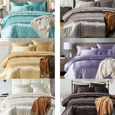 Details About Satin Silk Bedding Set Duvet Quilt Cover Pillow Case