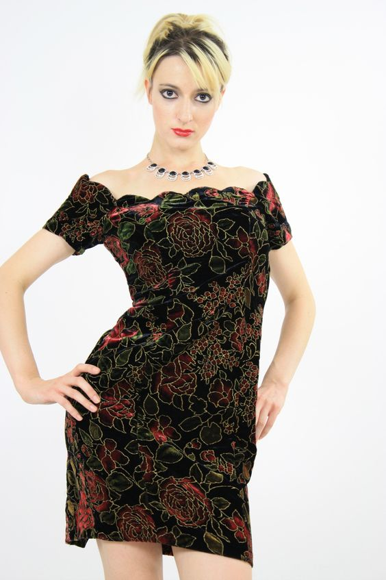 Vintage 80s floral velvet cocktail party mini dress