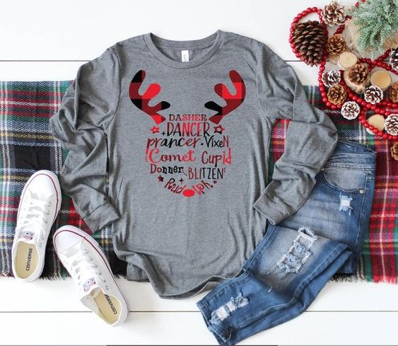 Womens Christmas shirt, Dasher, Dancer, Prancer Shirt, Reindeer Shirt, Christmas shirts, Womens shir