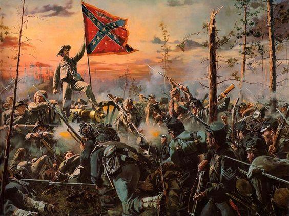La cruz del sur. Batalla de Glendale, 30 junio de 1862, el 11º de Alabama captura en una feroz y sanquinaria lucha a la bayoneta, la batería Randol de seis cañones Napoleón, derrotando al 4º de Pennsilvania de Reserva, aunque estos en un postrer contraataque capturaron la bandera del regimiento de Alabama. Más en www.elgrancapitan.org/foro