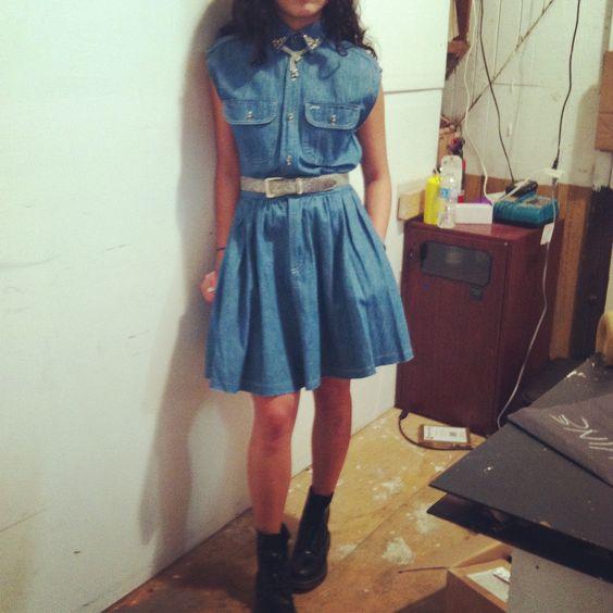 @JaniceShoppalu wearing a refurbished DIY vintage Ralph Lauren dress from Shoppalu