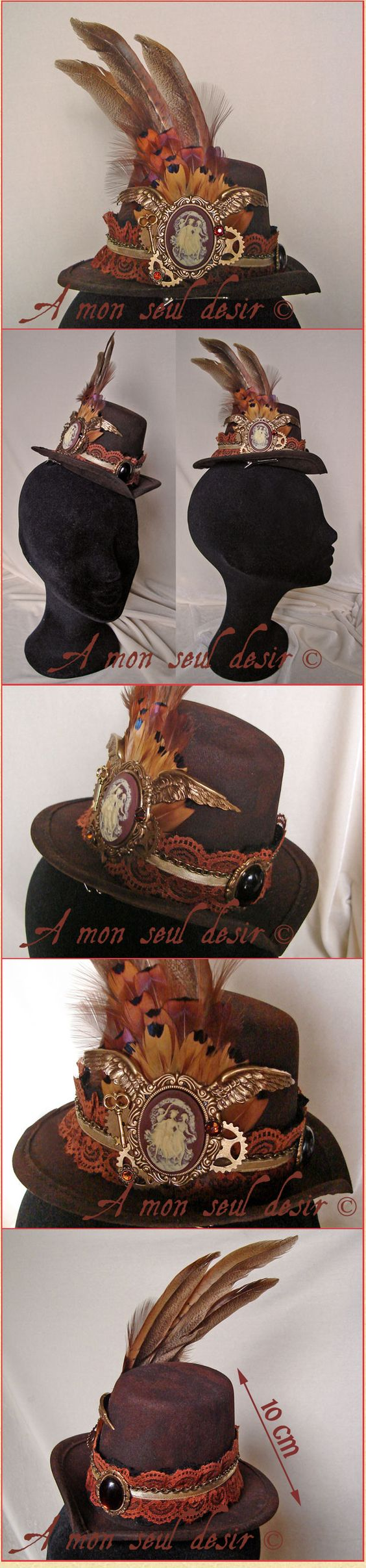 """A mon seul desir : Chapeau Steampunk Victorien Plumes de Faisan camée ailes bronzes rouages dentelle marron cameo steampunk feather hat """"Les..."""