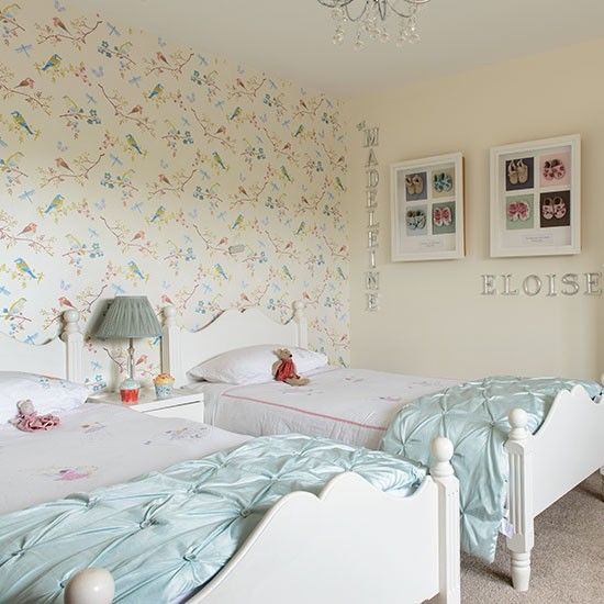Girls' Twin Bedroom With Bird Wallpaper