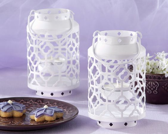 """Skylights"" White, Openwork Mini Lantern"