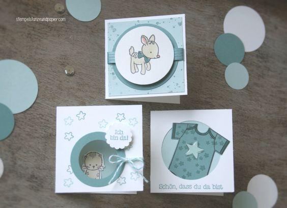 """Mini Baby Karten für kleine Jungs - Stampin' Up! - """"Zum Nachwuchs"""" - lagunenblau/himmelblau"""