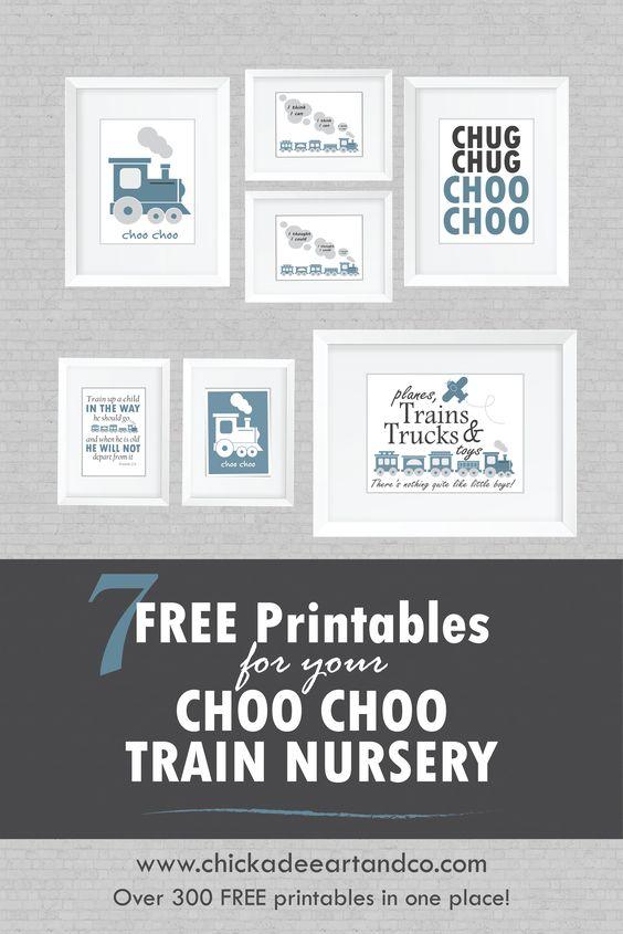 7 FREE Choo Choo Train Nursery Printables courtesy of Chickadee Art and Company.  http://www.chickadeeartandco.com/train-nursery-printables/