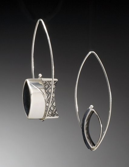 Half Open Square Silver Earrings by Theresa Carson #Jewelry