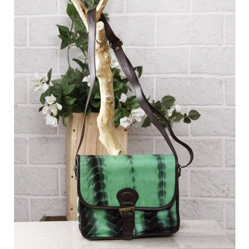 Green & Black Tie Dyed Suede Sling Bag.