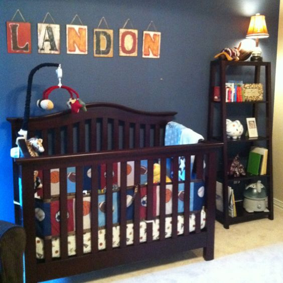 Baby boy room landon 39 s retro sports room for landon for Boys room accent wall