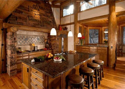 Beautiful Log Cabin Kitchen. I Like How The Breakfast Nook Is On A  Different Level.   New Home Ideas   Pinterest   Log Cabin Kitchens, Cabin  Kitchens And ...