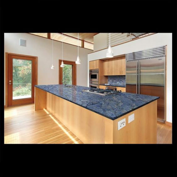 Granite azul bahia natural stone contemporary kitchen for Navy blue granite countertops