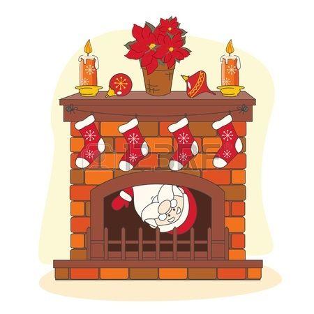 Pap noel te saluda una feliz navidad ilustraci n dibujo - Dibujos de chimeneas de navidad ...