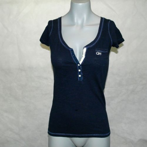 Gilly Hicks Navy Blue Button Front Top Blouse Size S | eBay