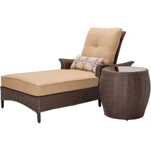 Hanover Outdoor Gramercy Tan And Multi 2 Piece Chaise Lounge Set Instantly Creat With Images Outdoor Wicker