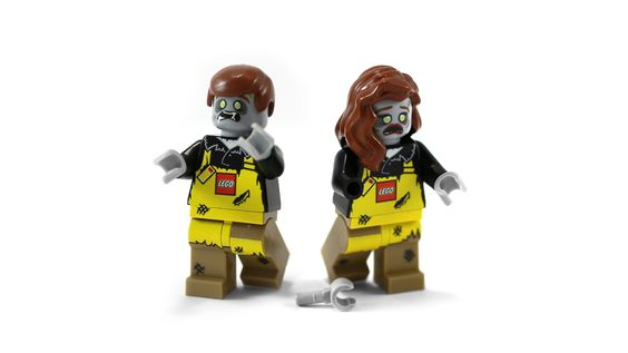 "https://flic.kr/p/DfnPhz | LBR Zombie Minifigures | These exclusive LEGO Minifigures were given to participants of the 2015 LEGO Brand Retail Manager's Conference in Houston, Texas; USA. The theme of the conference was ""Apocalypse"" bringing forth humorous references to zombies and the world after people on PowerPoint slides, name tags, paperwork and giveaways. Each attendee, all employed by the LEGO Group, were given one Minifigure with both a male and female head option in order t..."
