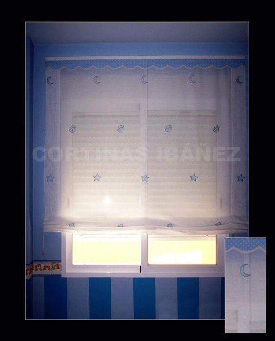 Estor infantil paqueto de tela de visillo bordado y for Cortinas tipo visillo