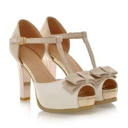 Elegant Women's Sandals With T-Strap and Bow Design