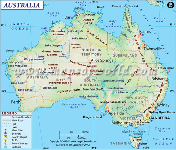 Enlarged Map of Australia showing the airports roads rail – Australia Map with States and Capital Cities