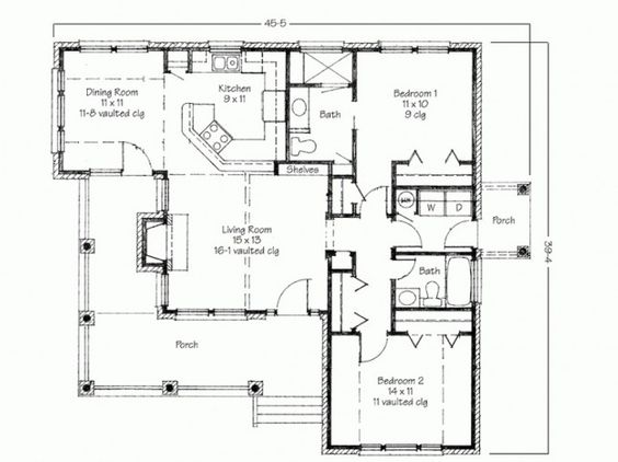 Bedroom contemporary small two bedroom house plans simple for Backyard cottage floor plans