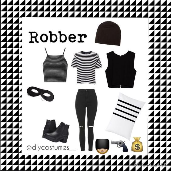 """Robber ____________________ Stripped or just black shirt Black pants or jeans  Black shoes Black beanie Mask w/ eye cutouts Pillow case as bag…"""