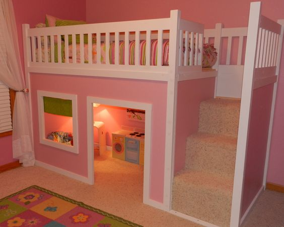 Girls room :)  FREE instructions/plans on how to build a loft/playhouse bed