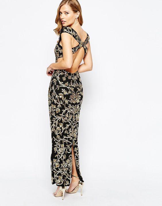 Image 1 ofVirgos Lounge Florence Embellished Maxi Dress WIth Cross Open Back