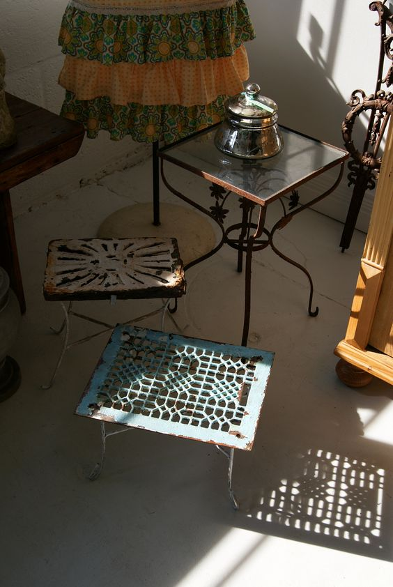 What a great way to re purpose antique grates old metal for Repurposed metal furniture