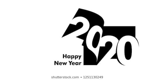 Vector Modern Minimalist Happy New Year Card For 2020 With Main Big Numbers Figures Are Placed On The New Year Card Design New Year Logo Happy New Year Cards
