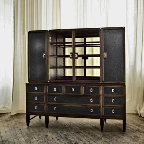 Cabinet Made From Black Walnut Sourced From New England And The Mid Atlantic.  Shown In Stained Walnut With Italian Black Leather Cabinet And Draweru2026