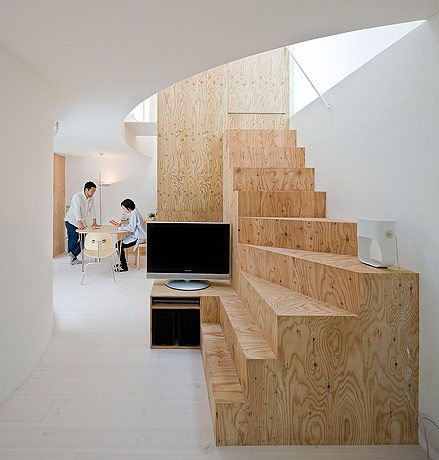 .: House Om Fujimoto 3794 Jpg, Basement Stairs, Plywood Stairs, Staircase Design, Awesome Stairs, Plywood Staircase, Timber Stair, Wooden Staircases, Architecture Stairs