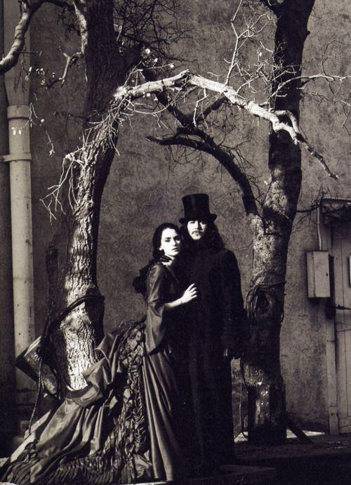 Winona Ryder and Gary Oldman on the set of Dracula (1992)