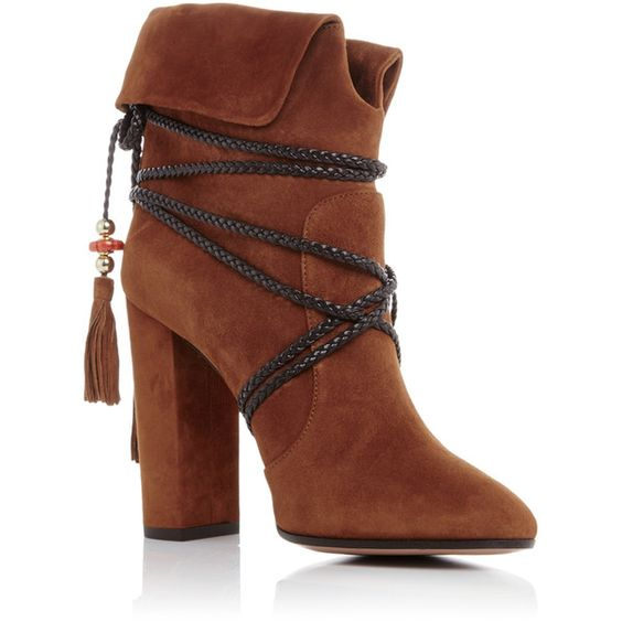 Aquazzura X Poppy Delevingne Suede Moonshine Ankle Boots (€540) ❤ liked on Polyvore featuring shoes, boots, ankle booties, booties, short boots, tassel ankle boots, boho boots, tie boots and suede ankle bootie