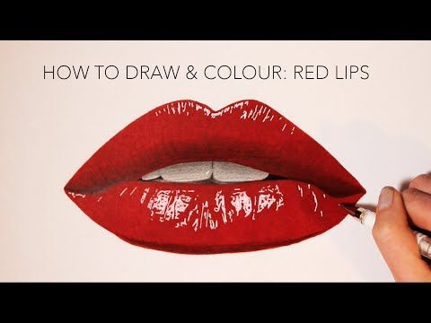 Step By Step How To Draw Color Realistic Lips And Teeth With