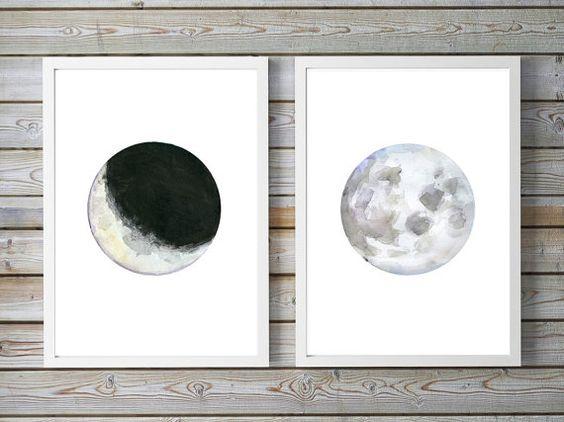Moon Art - full Moon Watercolor Painting - two prints - spiritual art -  half Moon painting - moon illustration - moon drawing universe