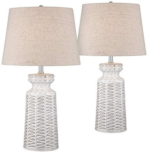 Helene Country Cottage Table Lamps Set Of 2 Ceramic Rustic White Glaze Linen Shade For Living Room Family Bedr Rustic Table Lamps Table Lamp Sets Cottage Table