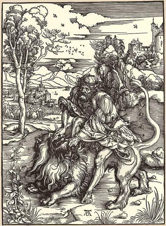 """""""Simson bezwingt den Löwen"""", Holzschnitt von Albrecht Dürer"""