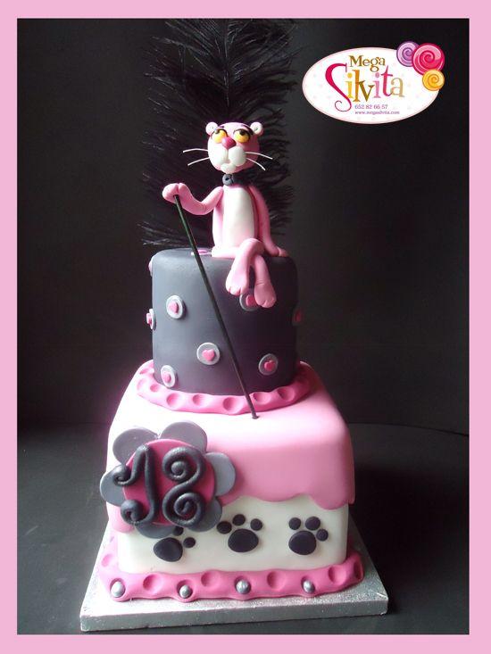 大人っぽいピンクパンサーのケーキ
