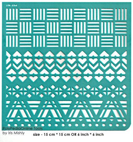 Modèle de pochoirs motif au pochoir adhésif réutilisable, « Frontières de Geo » 6 pouces/15 cm, flexible, pour l'argile polymère, tissu, bois, verre, cartes
