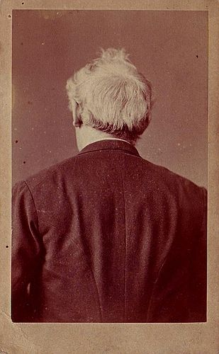 Family, friends, take note:  How I personally like to be photographed.     ca. 1880, [carte de visite, portrait of the back of a gentleman], W. Fechner (Berlin) via Luminous Lint, LL/18082, courtesy of Ordinary Light