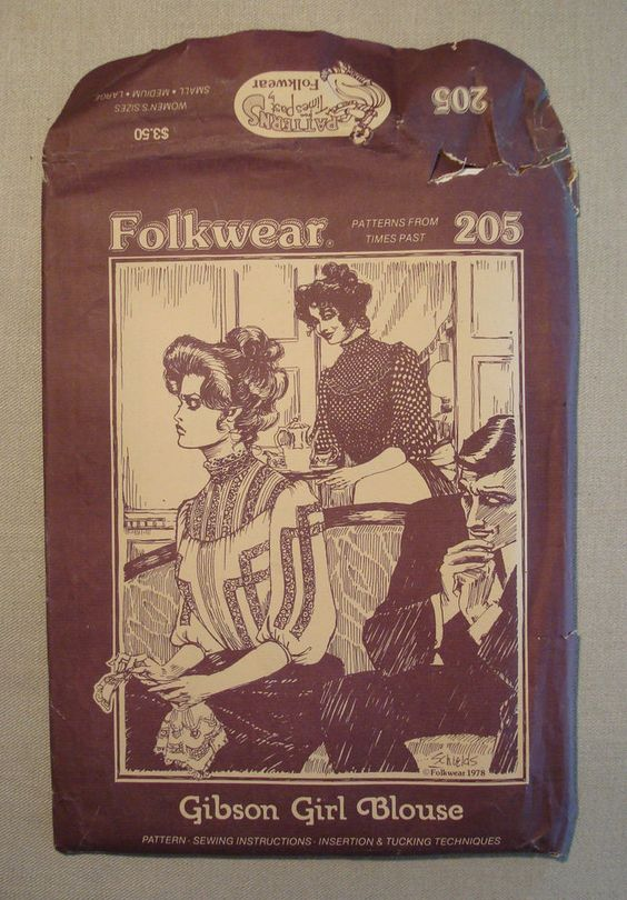 Folkwear Pattern #205 Gibson Girl Blouse UNCUT Small/Med/Lg Times Past 1978…