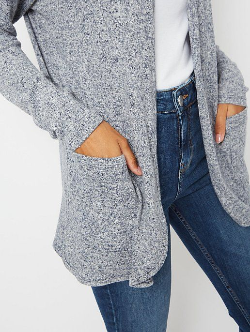 Navy Marl Soft Touch Open Front Cardigan   Women   George in