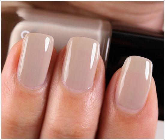 "PERFECT NAILS Chanel Frenzy Le Vernis / Nail Lacquer ($26.00 for 0.40 fl. oz.) is described as a ""lilac grey."" It's a light taupe"