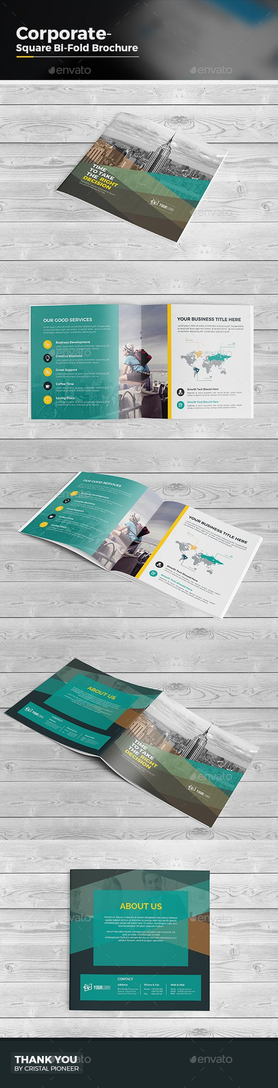 Square Bi Fold Brochure Template  — EPS Template #square brochure #financial • Download ➝ https://graphicriver.net/item/square-bi-fold-brochure-template/18104359?ref=pxcr