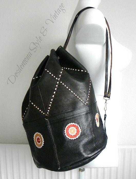 Vintage Moroccan leather backpack