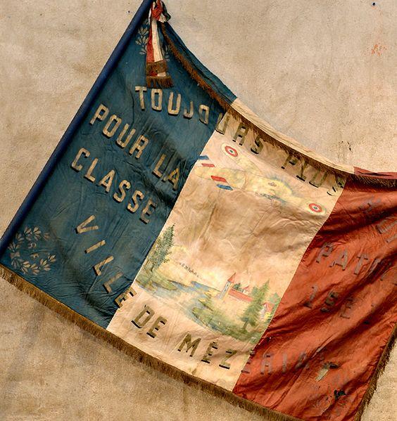Huge Vintage French Parade Flag