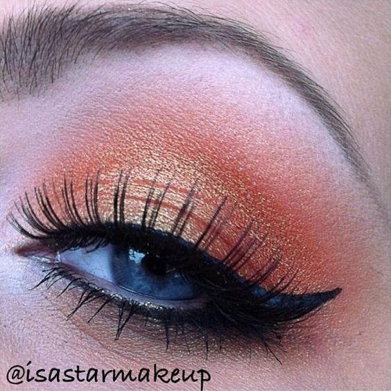 Golden orange eye makeup