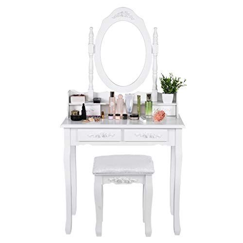 Hopeg Makeup Dressing Table Set With Oval Mirror With 4 Drawers Dressing Table Cushioned Stool Bedroom Vani Vanity Table Set Dressing Table Set Wooden Vanity