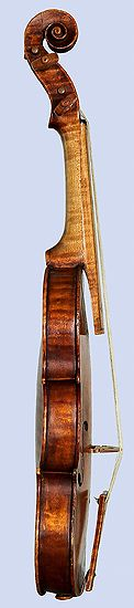 Neck, bass side, Amati Violino Piccolo, 1613, showing baroque neck angle