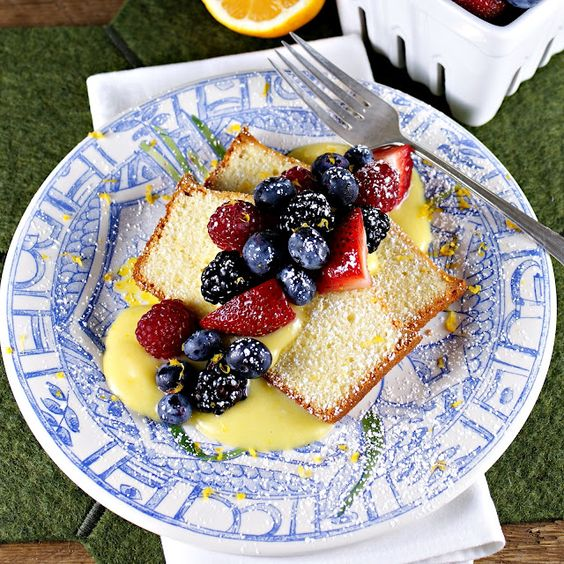 Lemon Loaf Cake with Meyer Lemon Curd and Fresh Berries @Patty Price/Patty's Food