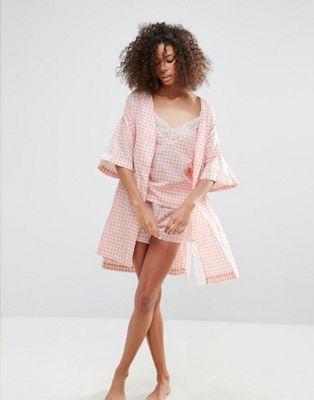 Monki Gingham Short Pajama Set & Robe